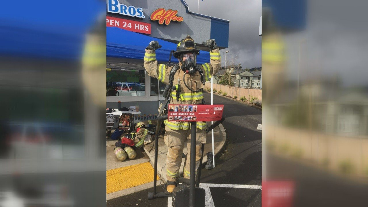 firefighters raise funds to help fight against cancer news firefighters in cottage grove were fundraising at dutch bros on saturday to help the fight against blood cancers